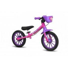 2636cc5f0 Bicicleta Infantil Aro 12 Sem Pedal Balance Bike Feminina - Nathor Rosa
