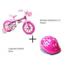 bicicleta aro 12 flower capacete rosa