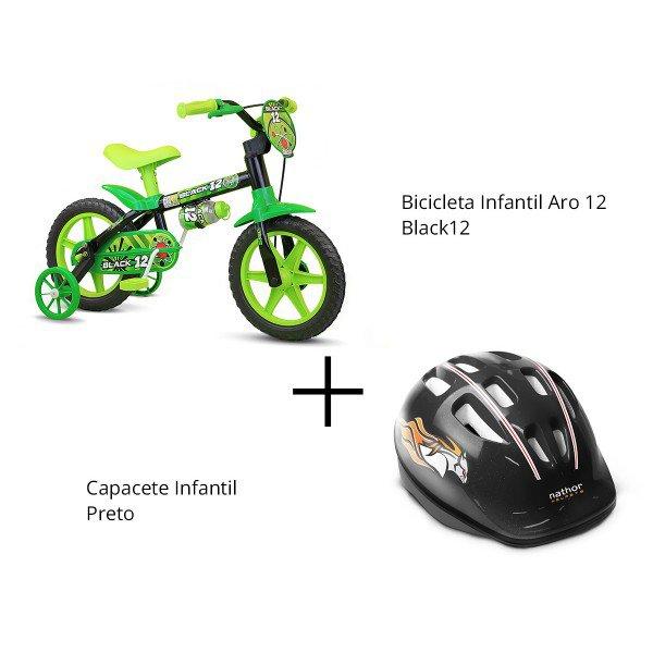 bicicleta aro 12 black12 capacete preto