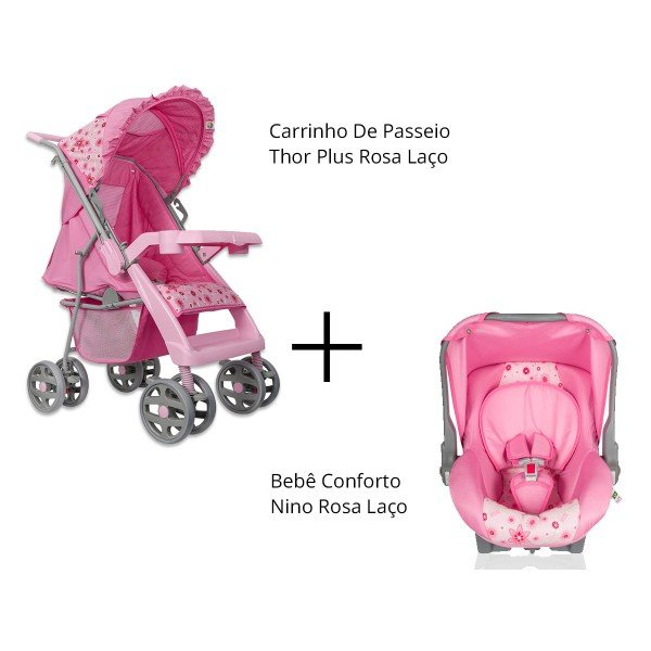 Kit Tutti Baby Carrinho De Passeio Thor Plus + Bebê Conforto Nino ... 7992a9410be