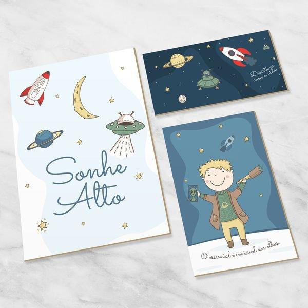 Quadro Para Quarto Bebê Decorativo Infantil Explorando Universo - Hugart