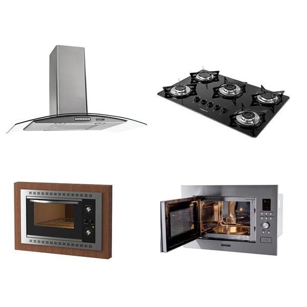 kit fogatti coifa parede 80cm cooktop v500x forno embutir f450 black micro ondas m230