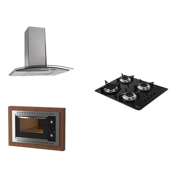 kit fogatti coifa parede 60cm cooktop v400 forno embutir f450 black