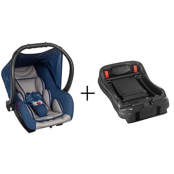 Bebê Conforto Cadeirinha Carro Com Base Preta - Ello - Tutti Baby Azul/Cinza Liso