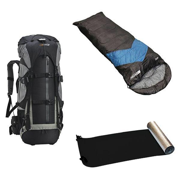 kit camping mochila gyzmo 50l saco de dormir viper 5 a 12c isolante termico nautika