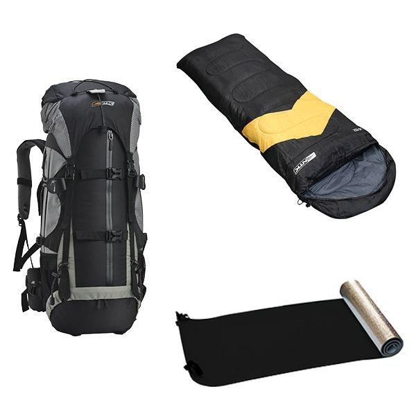 kit camping mochila gyzmo 50l saco de dormir viper 5 a 12c isolante termico nautika laranja